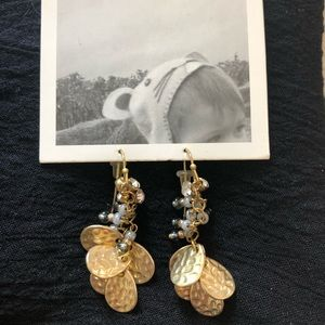 Anthropologie Leaf and Bead earrings New w Tags!